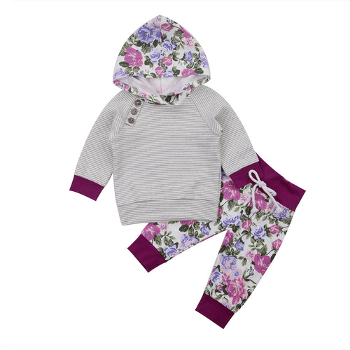 2 piece 'Purple Flowers' Hoody Outfit