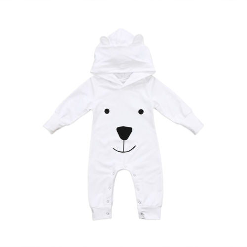 White Hooded 'Polar Bear' Jumpsuit