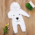 White Hooded Bear Jumpsuit