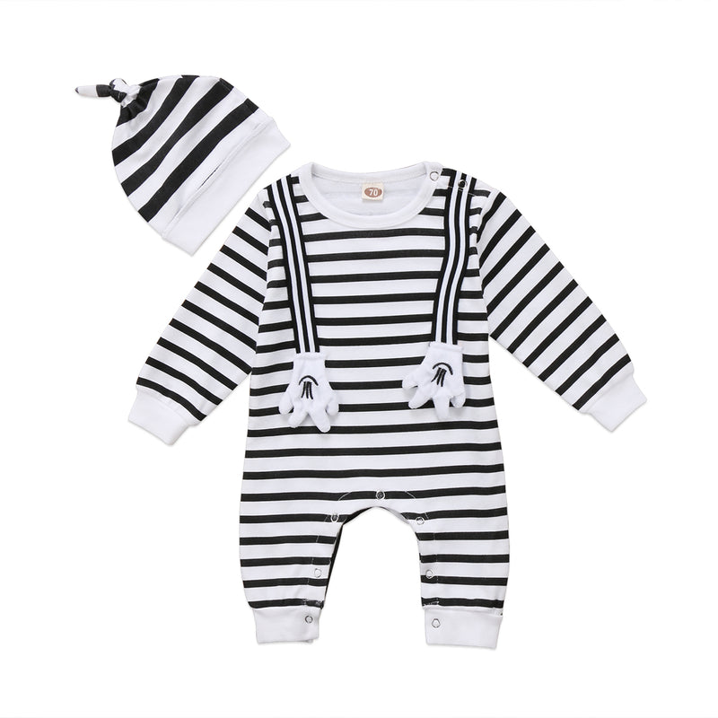 Striped Mickey Mouse Jumpsuit with Beanie