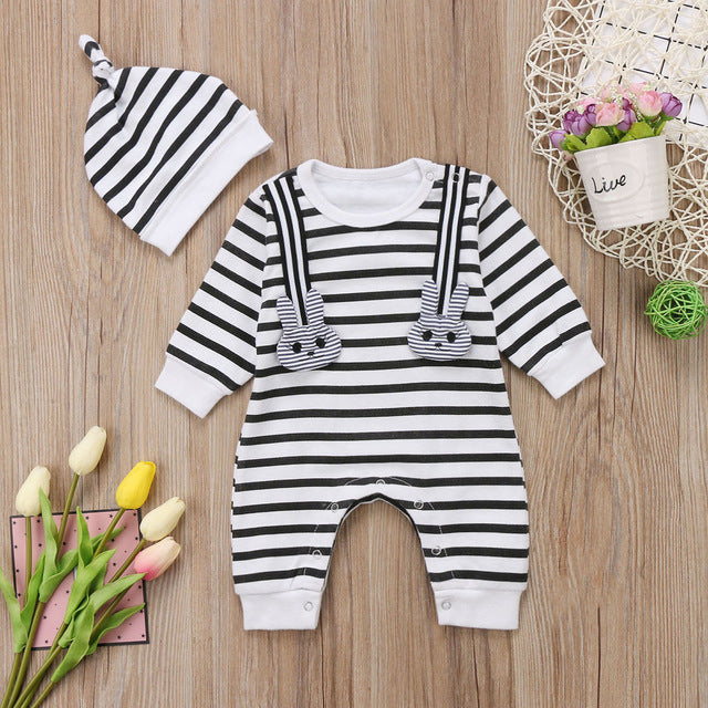 Striped Bunny Jumpsuit with Beanie