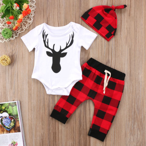 3 piece Checkered 'Deer' Outfit