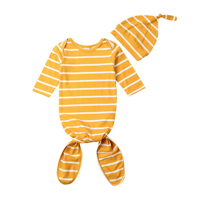Striped Sleeping Outfits with Beanie