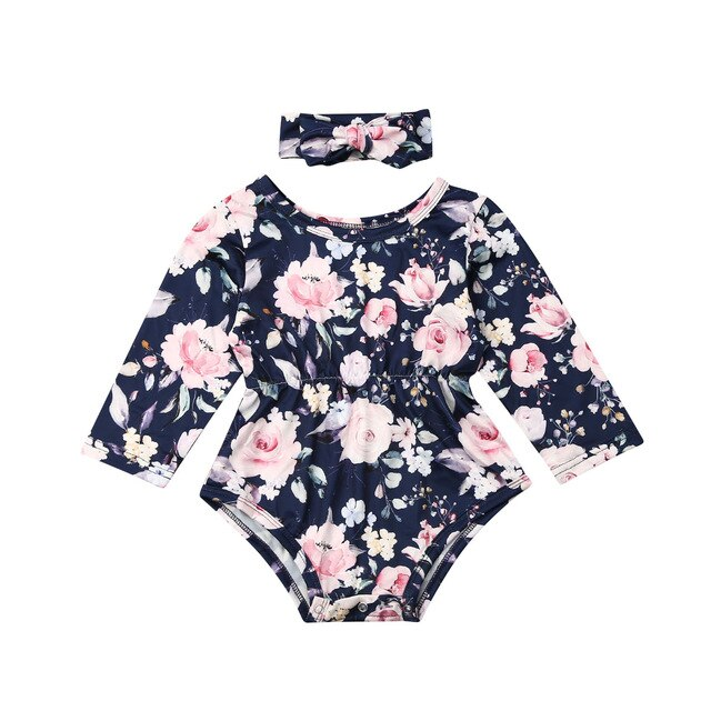 'Winter Flowers' Long Sleeve Romper with Headband