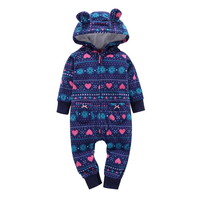 Hooded 'Christmas' Fleece Jumpsuit