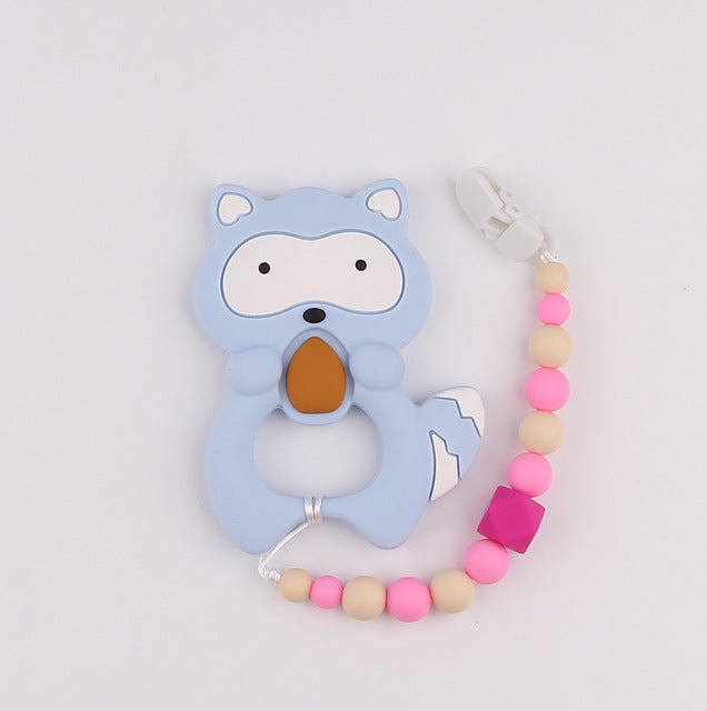 Raccoon Silicone Teether with Bead Chain