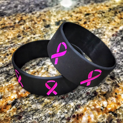 Breast Cancer Awareness Pink Ribbon Wristband