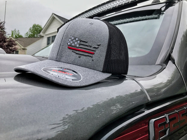 First Responders Flexfit Gray Hat with Black Mesh Back with American Flag and Red Line