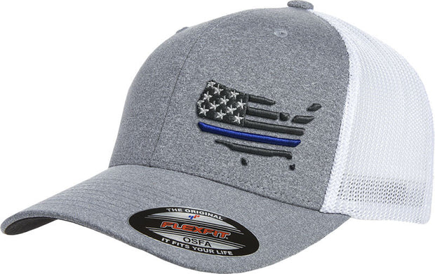 Peacemakers American Flag Gray and Mesh Flexfit Hat with Thin Blue Line