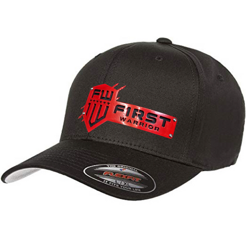 1W Black Flexfit Red Stainless hat