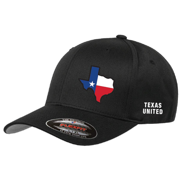 Texas United Black Flexfit Hat with State of Texas Outline