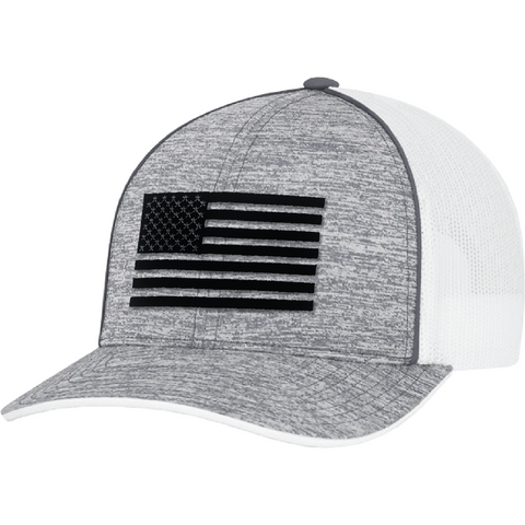 Classic Black on Gray American Flag United Flag Snapback Hat
