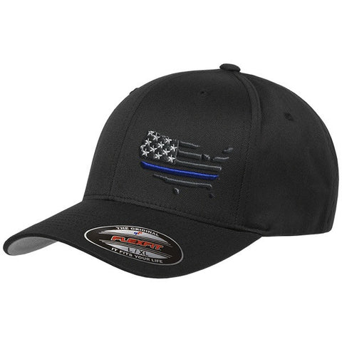 Peacemakers American Flag Black Flexfit Hat with Thin Blue Line