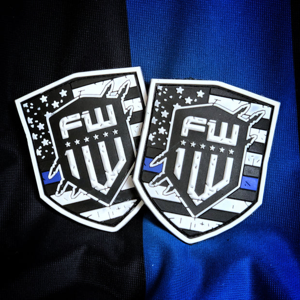1W Blue Line Patch - White
