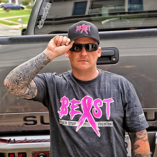 Breast Cancer Awareness Black Flexfit Hat with Pink Custom Beast Designand Iconic Cancer Ribbon