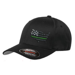 First Warrior Defenders American Flag Black Flexfit Hat With Green Stripe