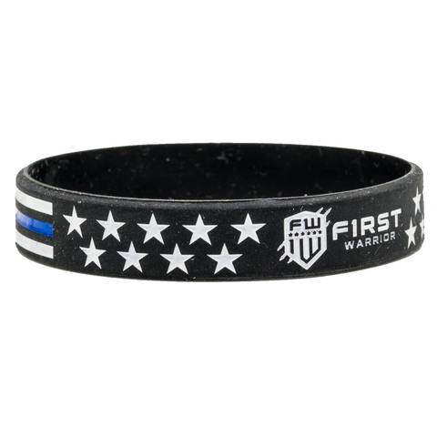 Firstwarrior Blue Line Flag wristband