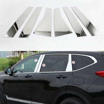 2017 2018 2019 HONDA CRV CR-V 6pc Pillar Posts STAINLESS STEEL Chrome Overlays