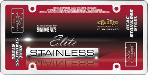 LICENSE PLATE FRAME ELITE STAINLESS STEEL