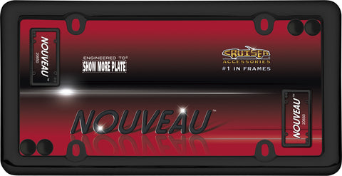 LICENSE PLATE FRAME NOUVEAU BLACK WITH FASTENER C