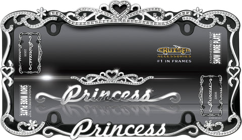 LICENSE PLATE FRAME PRINCESS CHROME/BLACK