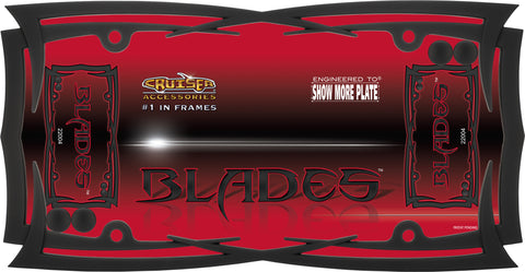 LICENSE PLATE FRAME BLADES FLAT BLACK WITH FASTENER