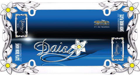 LICENSE PLATE FRAME DAISY CHROME/PAINTED