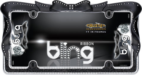 LICENSE PLATE FRAME RIBBON BLING BLACK/CLEAR