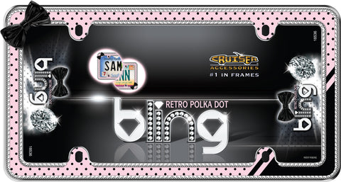 LICENSE PLATE FRAME RETRO POLKA BOT BLING CHROME