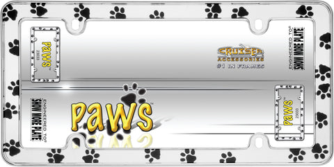 LICENSE PLATE FRAME PAWS CHROME