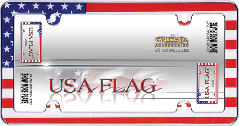 LICENSE PLATE FRAME USA FLAG CHROME
