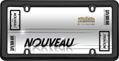 LICENSE PLATE FRAME NOUVEAU BLACK PLASTIC