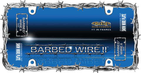 LICENSE PLATE FRAME BARBED WIRE II CHROME