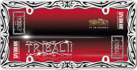 LICENSE PLATE FRAME TRIBAL II CHROME/BLACK