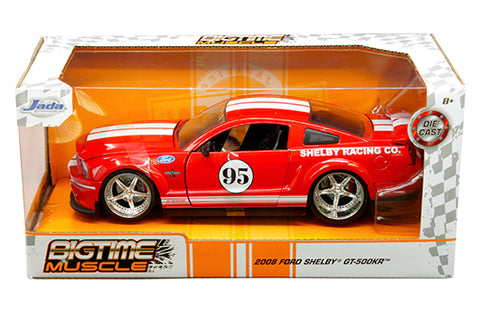 1:24 window box - Bigtime Muscle - 2008 Ford Shelby GT-500KR #95 (Red with white stripes)