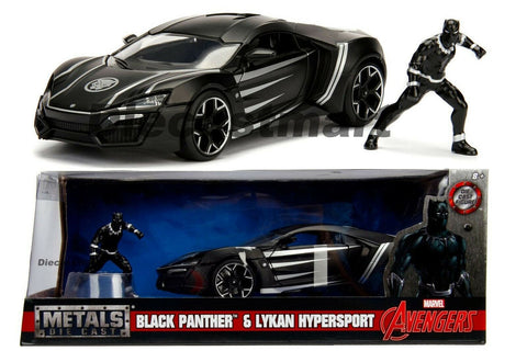 Jada 1:24 Black Pather & Lykan Hypersport with figure Diecast Model