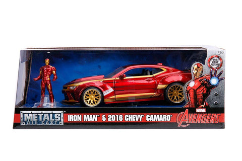 Jada 1:24 Ironman & 2016 Camaro with figure Diecast Model
