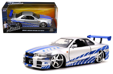 1:24 The Fast & Furious - 2002 Nissan Skyline GT-R34 Brian's Silver 97158