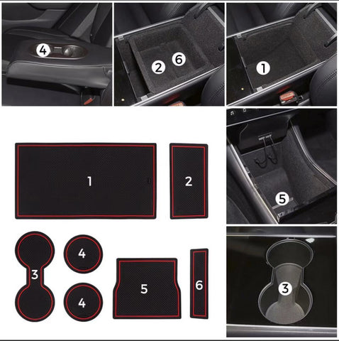 Tesla Model 3 2017-2020 Cup Holder and Center Console Liner Accessories 7-pc Set
