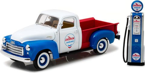 Greenlight 1/18 1950 GMC 150 Chevron w Vintage Chevron Gas Pump-autoworld-1