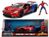 Jada 1:24 Spider-man & 2017 Ford GT with figure Diecast Model