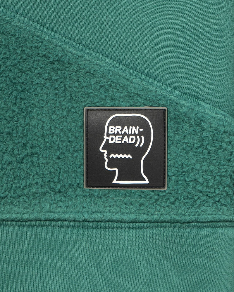 Brain Dead Logo Head Asymmetrical Paneled Hoodie 'Teal'