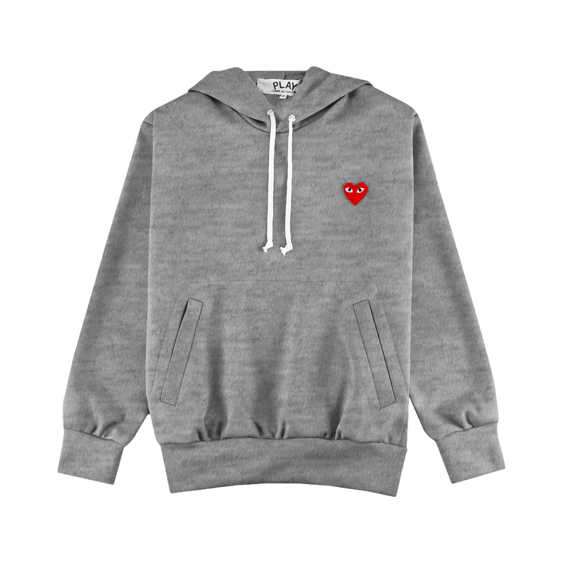 COMME des GARÇONS PLAY Hooded Sweatshirt [Grey/Red]