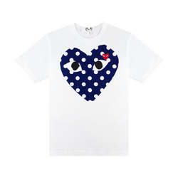 COMME des GARÇONS PLAY Polka Dot Heart T-Shirt 'White/Blue/Red'
