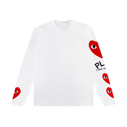 Comme des Garcons PLAY Four Hearts L/S T-Shirt [White/Red]