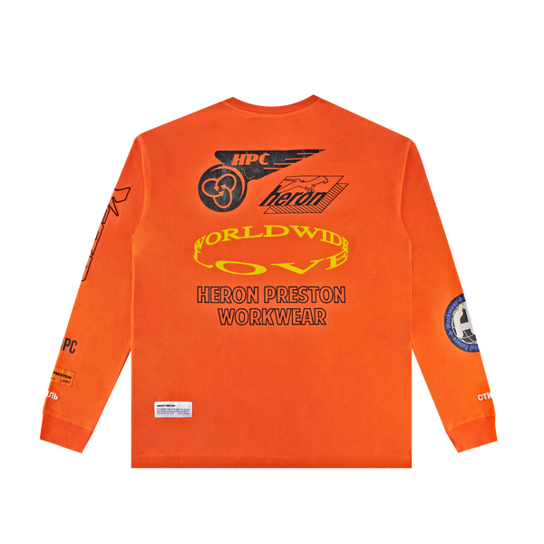Heron Preston Collage L/S Tee 'Golden Poppy/Black'
