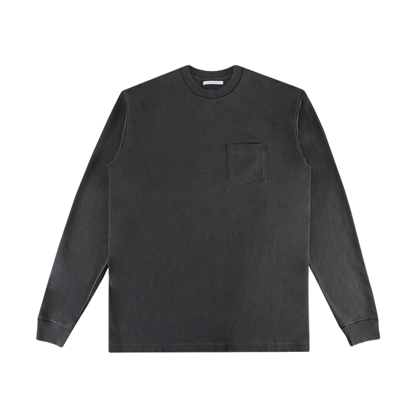 John Elliott Loose Stitch L/S Pocket Tee [Washed Black]