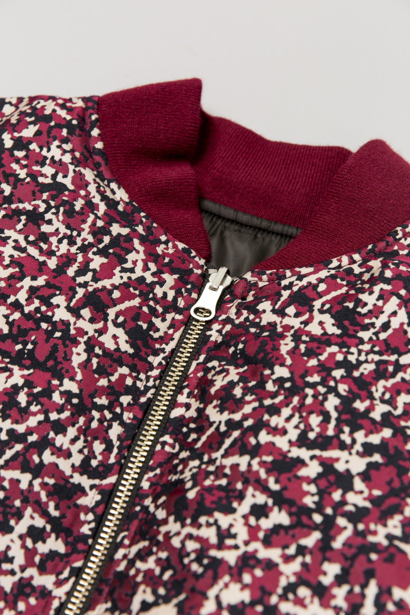 Zipper detail of Floral Public School Beve Reversible Bomber