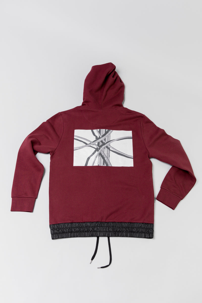 Back graphic on maroon Public School Langston Zip Hoodie at ROOTED Nashville