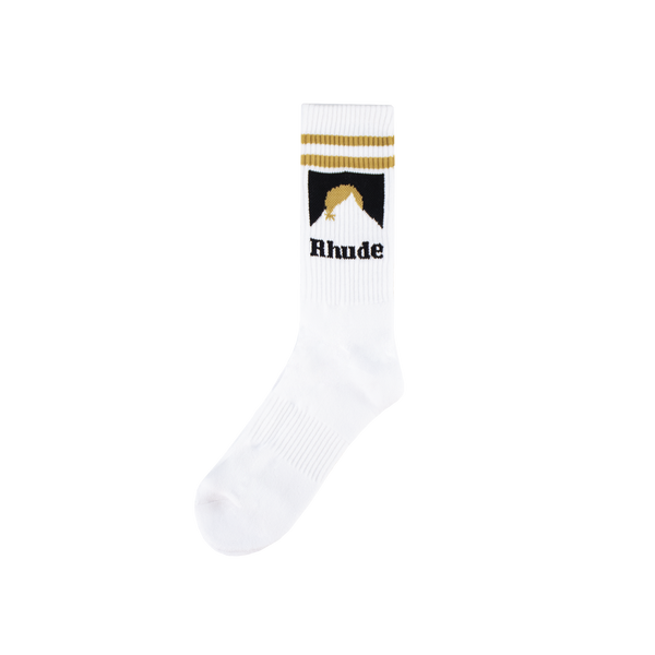 Rhude Mountain Logo Socks [White/Gold]